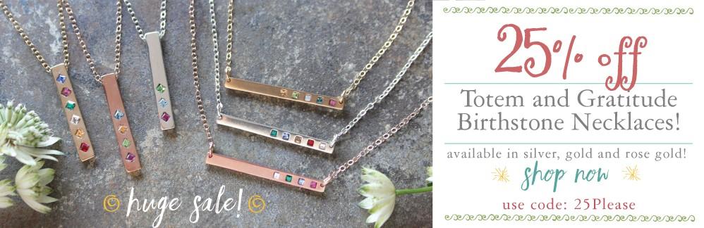 sale on birthstone bar necklaces