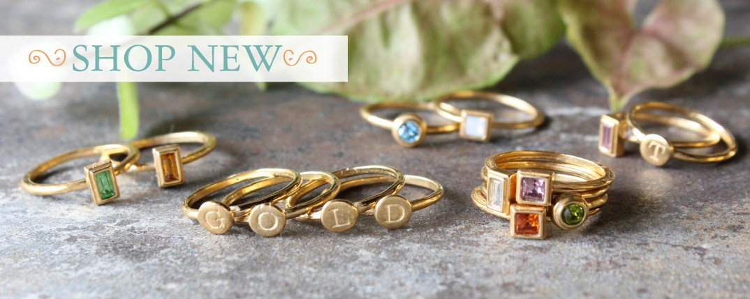 gold stacking rings with birthstones