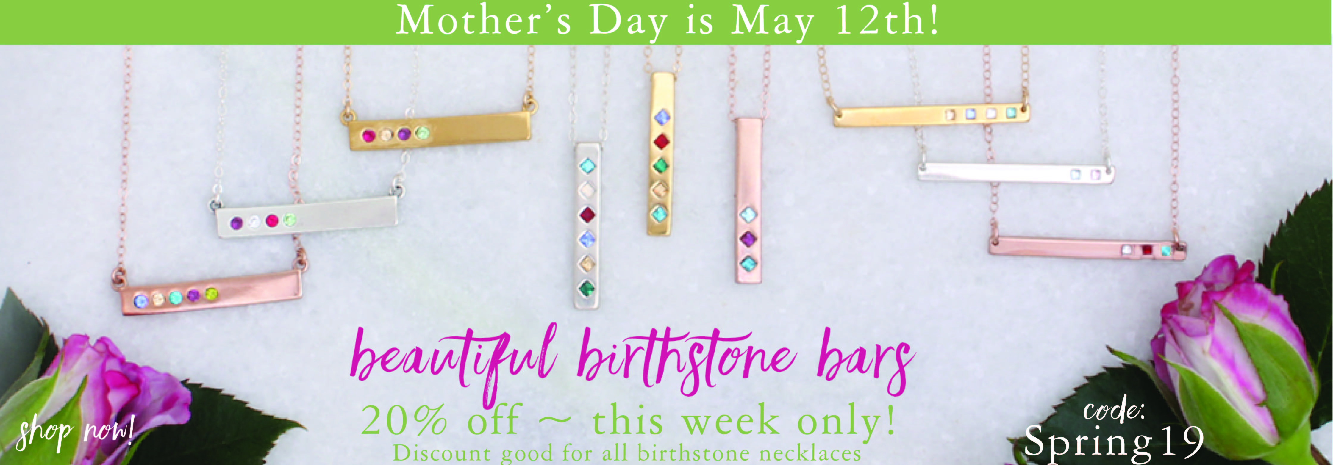 Birthstone Bar Necklaces | Nelle & Lizzy