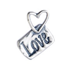 Silver Heart Love Tag charm