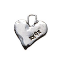 Silver stamped cross charm