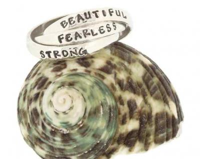 Empowered, Strong-Beautiful-Fearless Triple Sterling Silver Ring