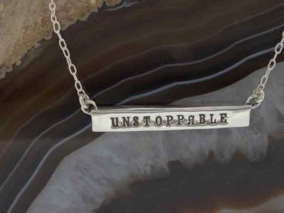 Empowered, Unstoppable Silver Bar Necklace