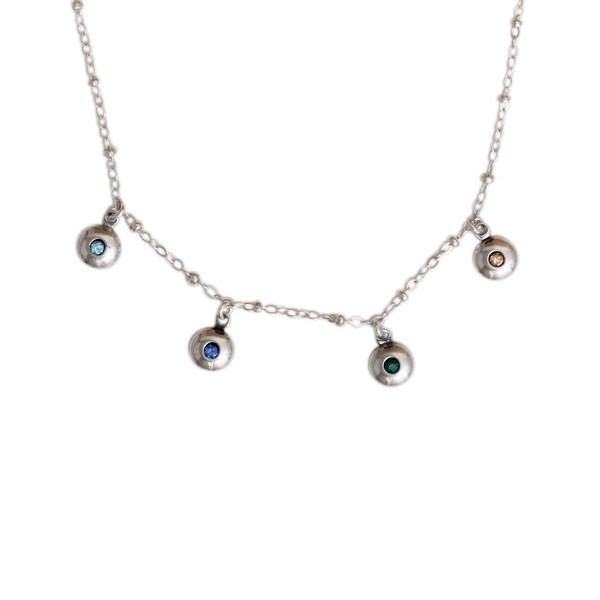 Silver Birthstone Charm Necklace, Love Dots Necklace