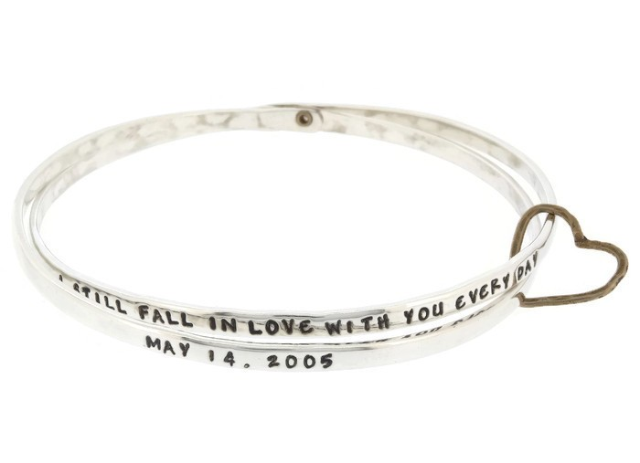 Stackable silver love bangle bracelet