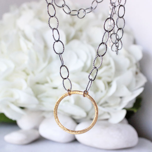 Circle Pendant Choker, Silver Necklace with Gold Circle Pendant