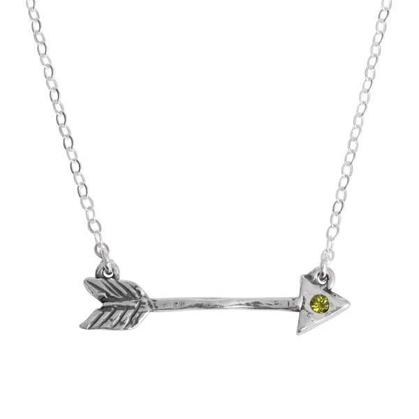 Arrow necklace with birthstone