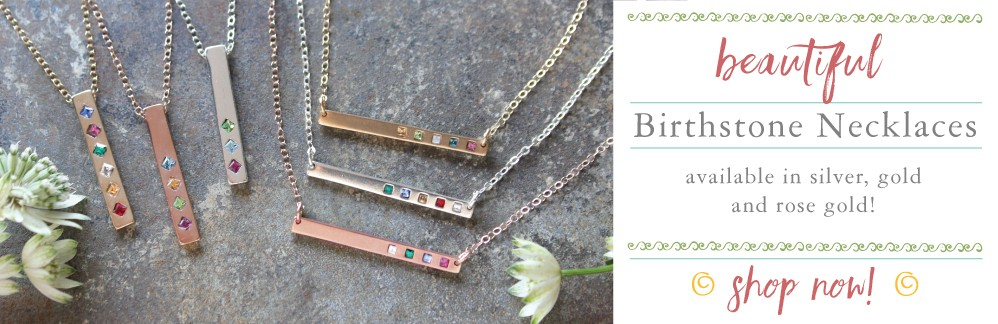 bar necklaces with birthstones silver, gold and rose gold