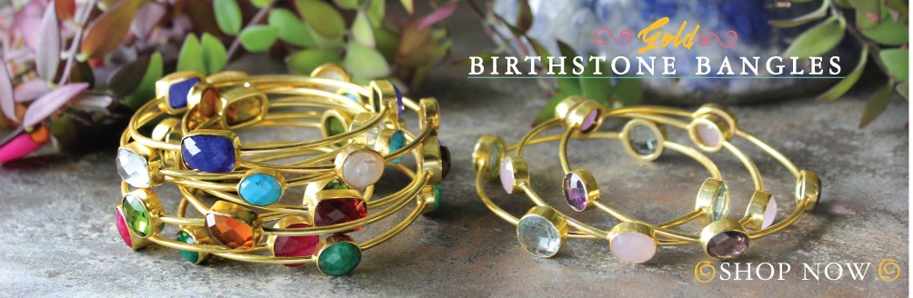 gold bangle bracelets with birthstones