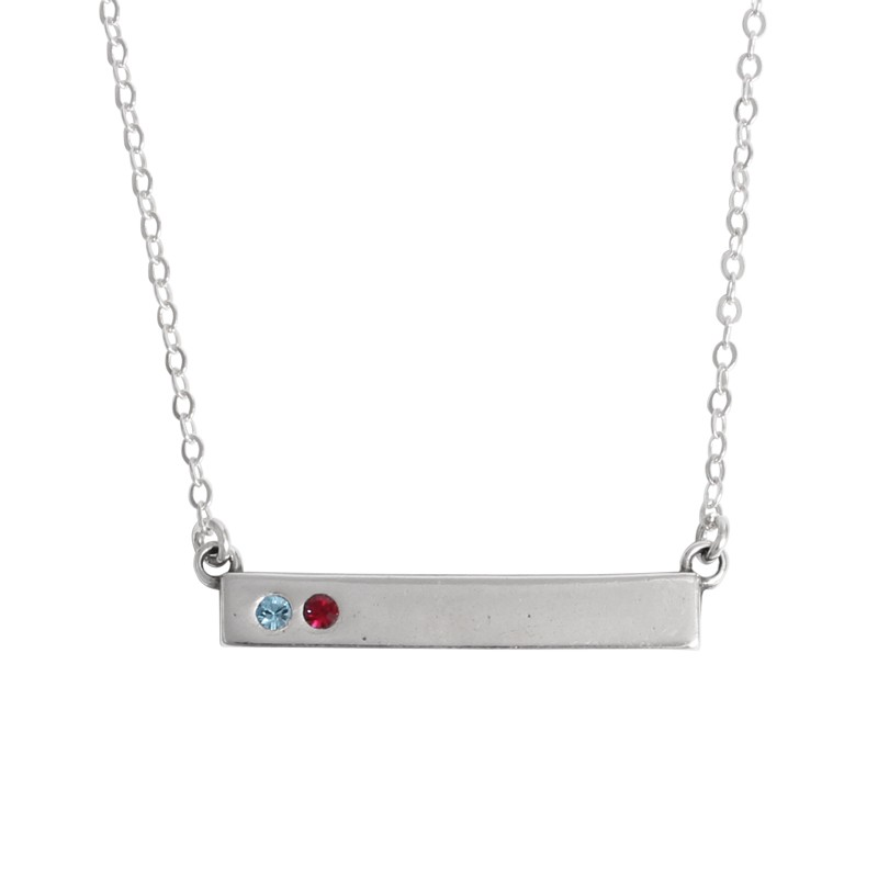birthstone bar necklace personalized for mothers with two kids