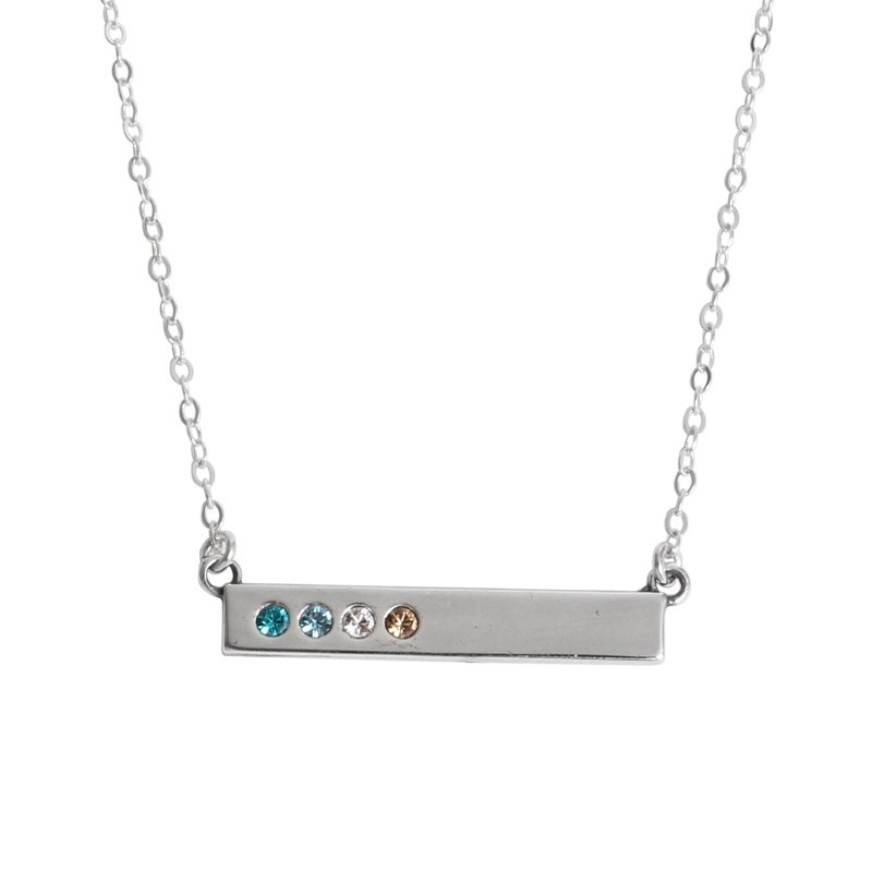 silver bar necklace on model