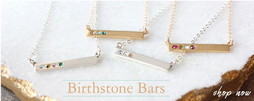 birthstone bar necklaces