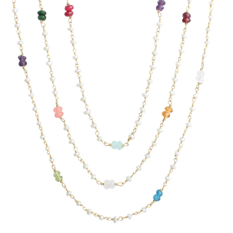 birthstone gold pearl family mothers necklace