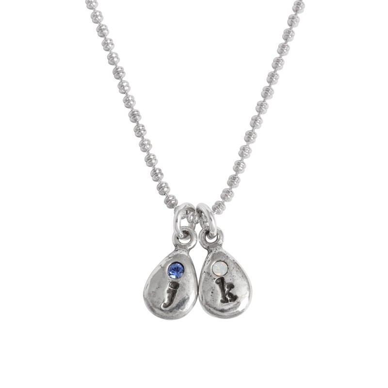 Mother's birthstone and initial necklace