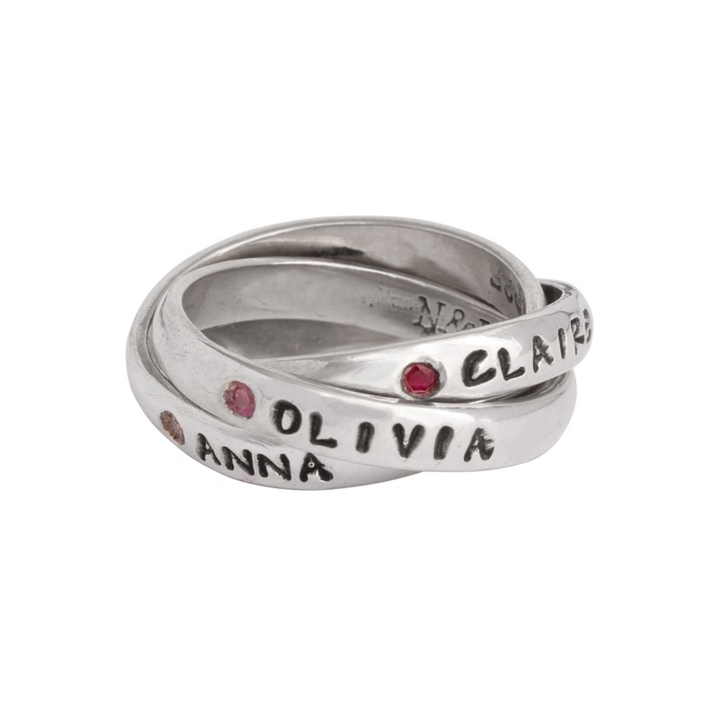 Personalized Mother S Birthstone Name Ring Flush Setting Silver