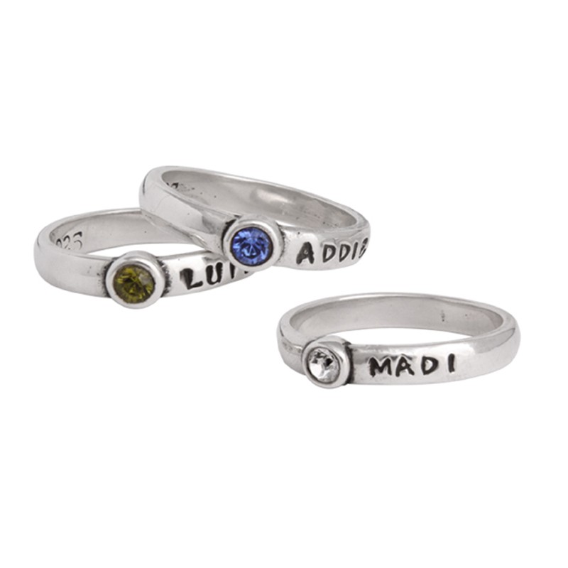 Grandmothers Birthstone Name Ring Stackable