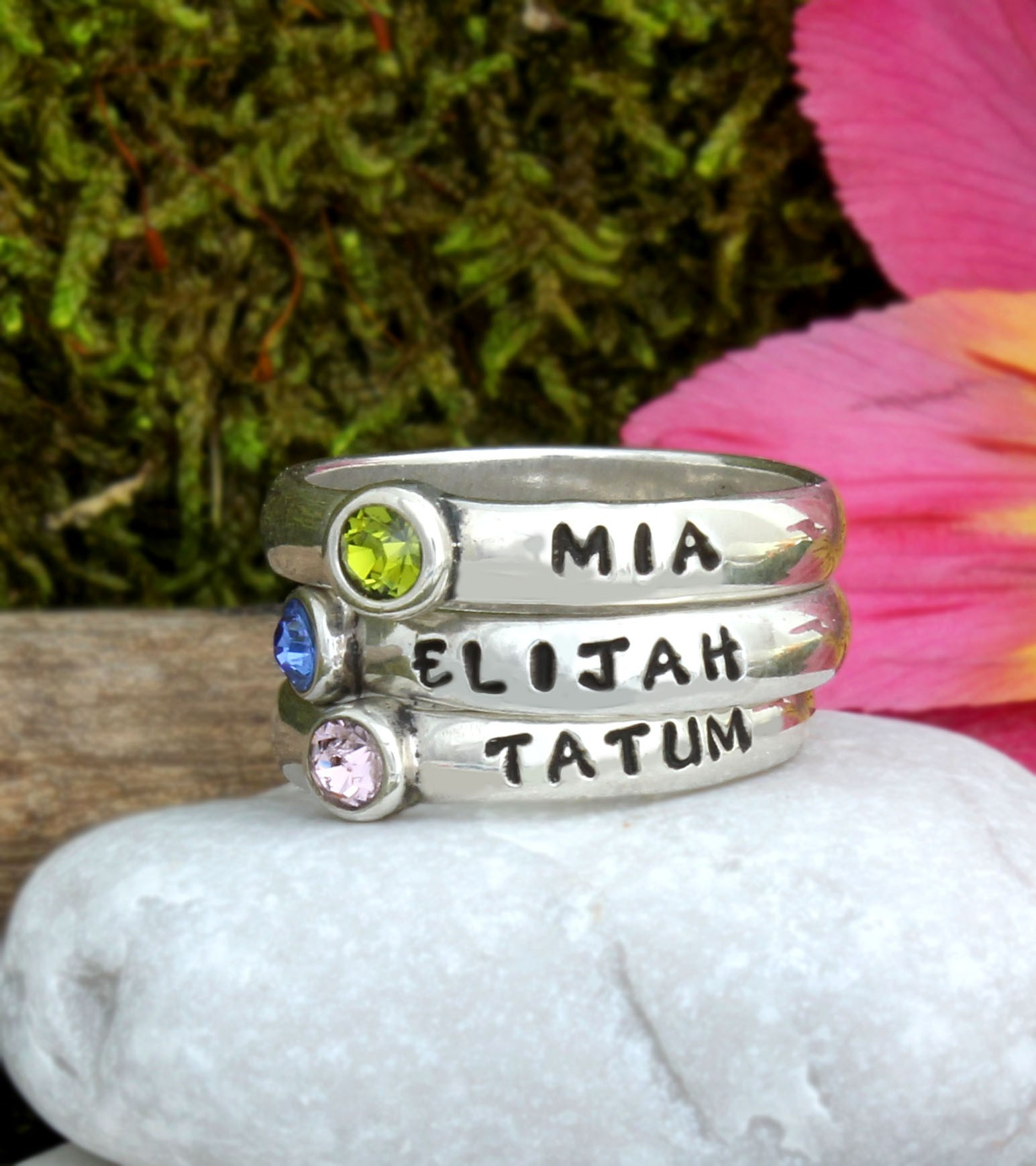 Name Rings with Birthstones Stackable