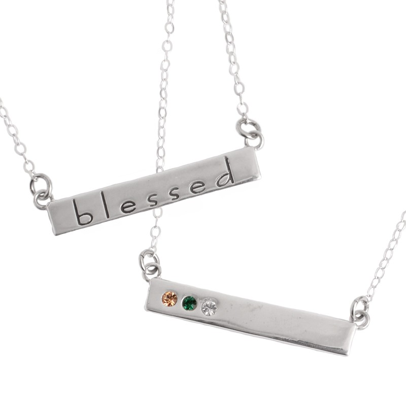 Count Your Blessings Bar Necklace in Sterling Silver for One Grandchild