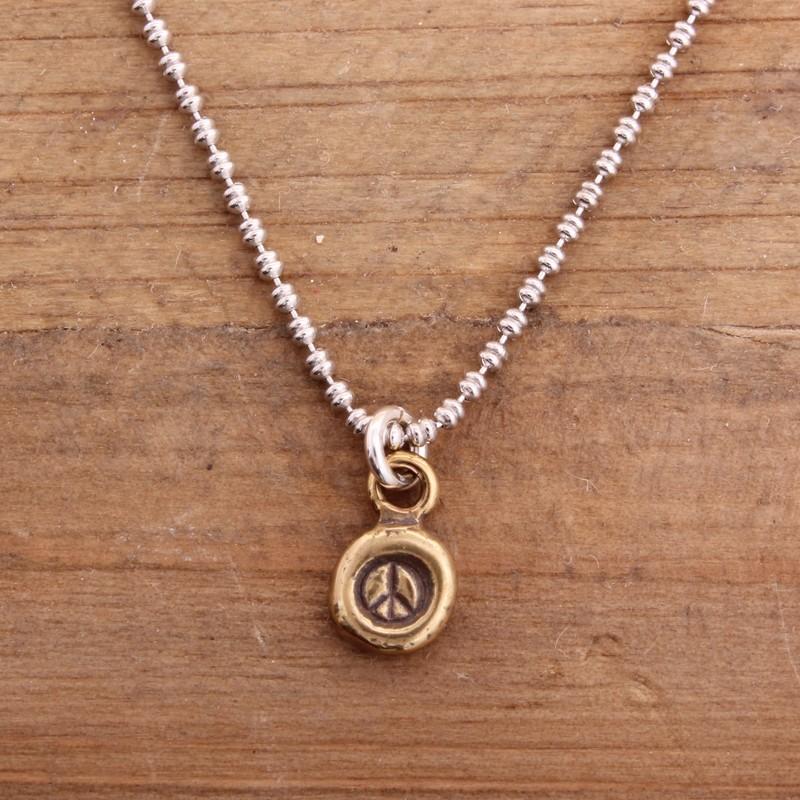 Bronze peace sign necklace