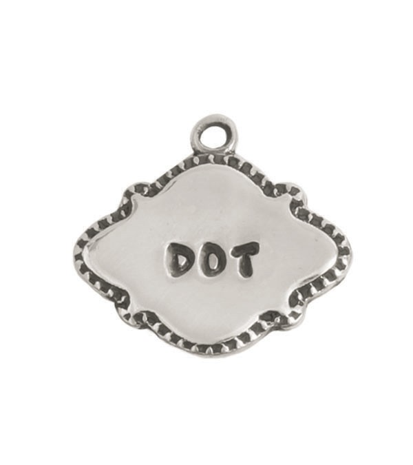 Silver stamped name charm
