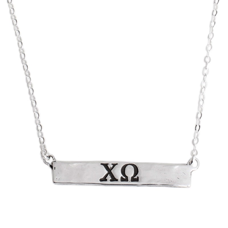 chi omega bar  necklace with sorority
