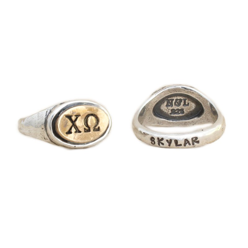 Chi Omega Sorority Ring, Personzalized Greek Sorority Jewelry