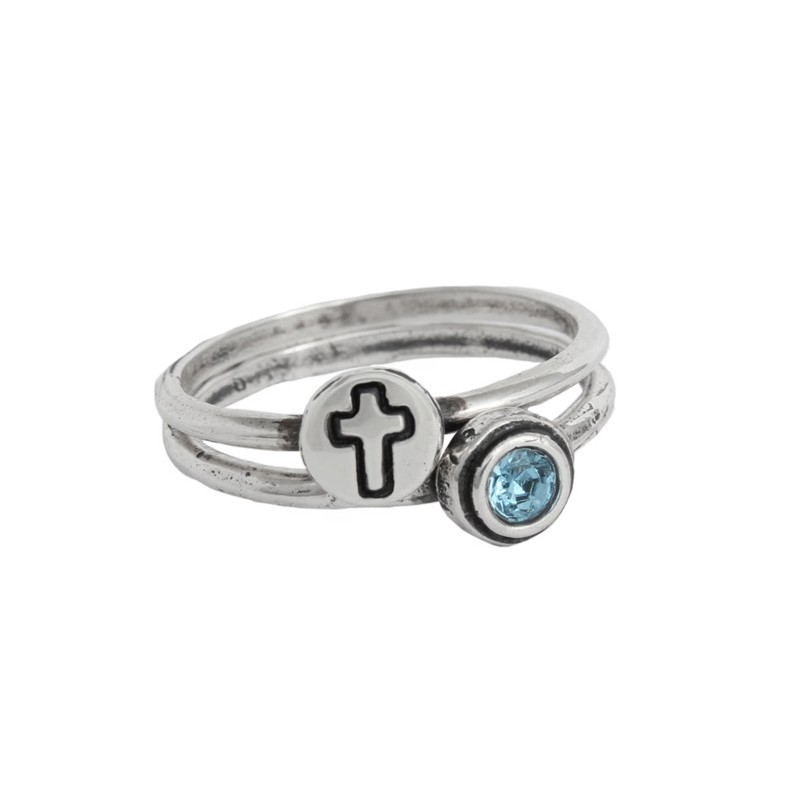 Silver Stack Christian Ring set
