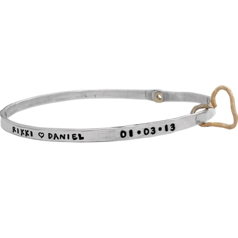 Anniversary bangle with name and heart charm