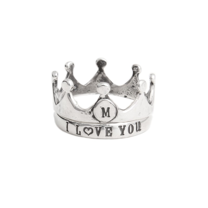 Silver Crown Rings with stamped initial