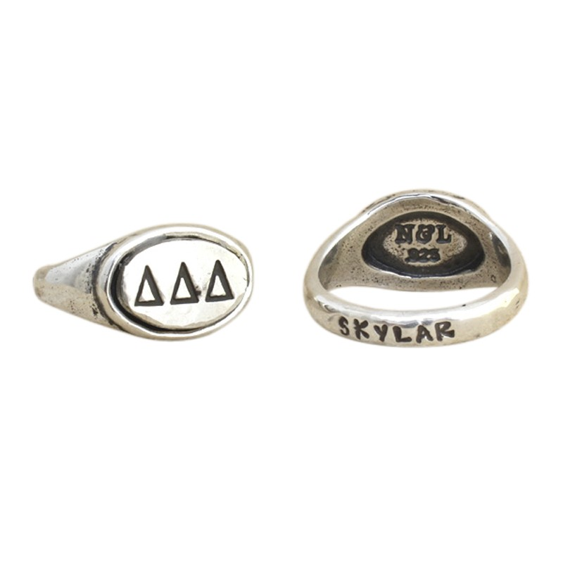 Delta Delta Delta Sorority Ring, Personalized Greek Sorority Jewelry