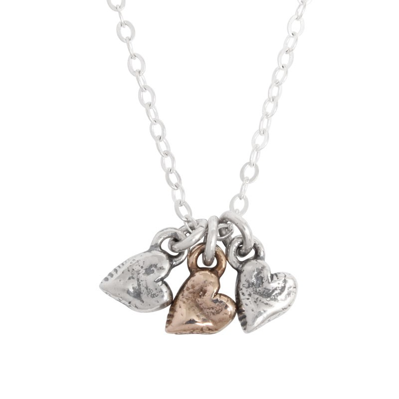 Sterling Silver heart family charm necklace