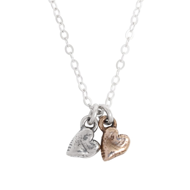 Necklace for Mother of Two Heart charm necklace