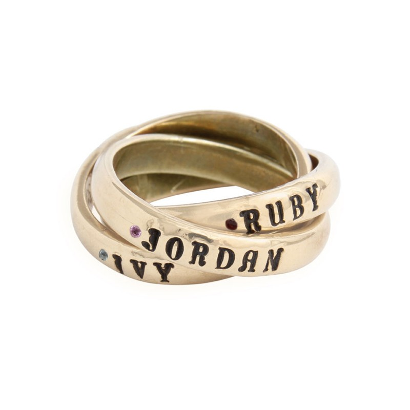 gold mothers birthstone name ring
