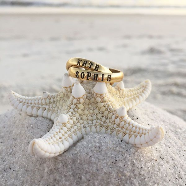 Gold Stackable Name Rings