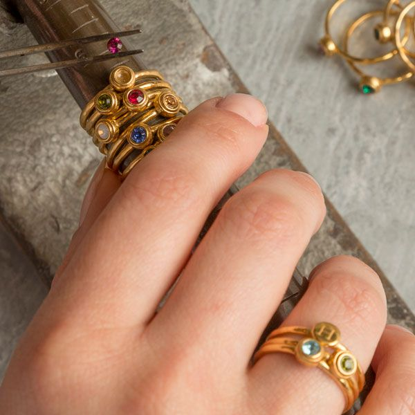 Gold Stacking Birthstone Rings