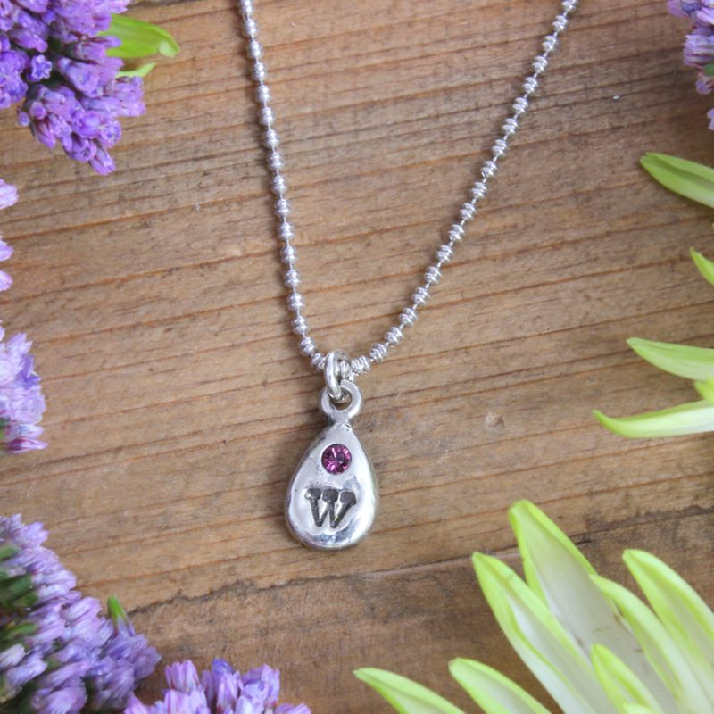 Initial Birthstone Charm Necklace