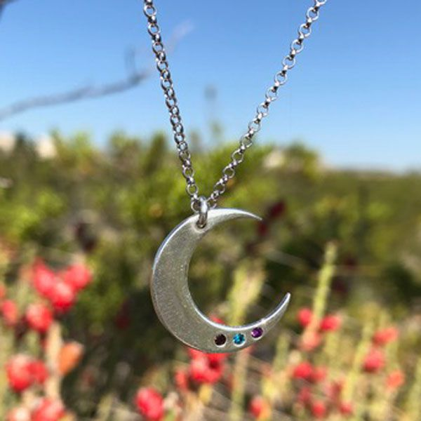 Moon Charm Birthstone Necklace