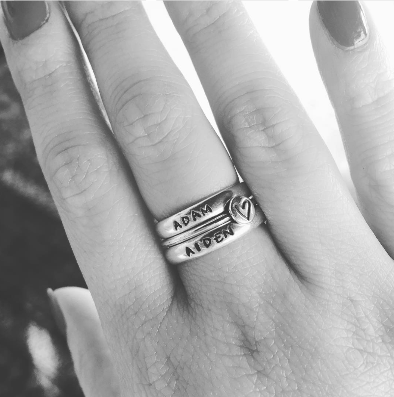 Silver Name Stackable Rings