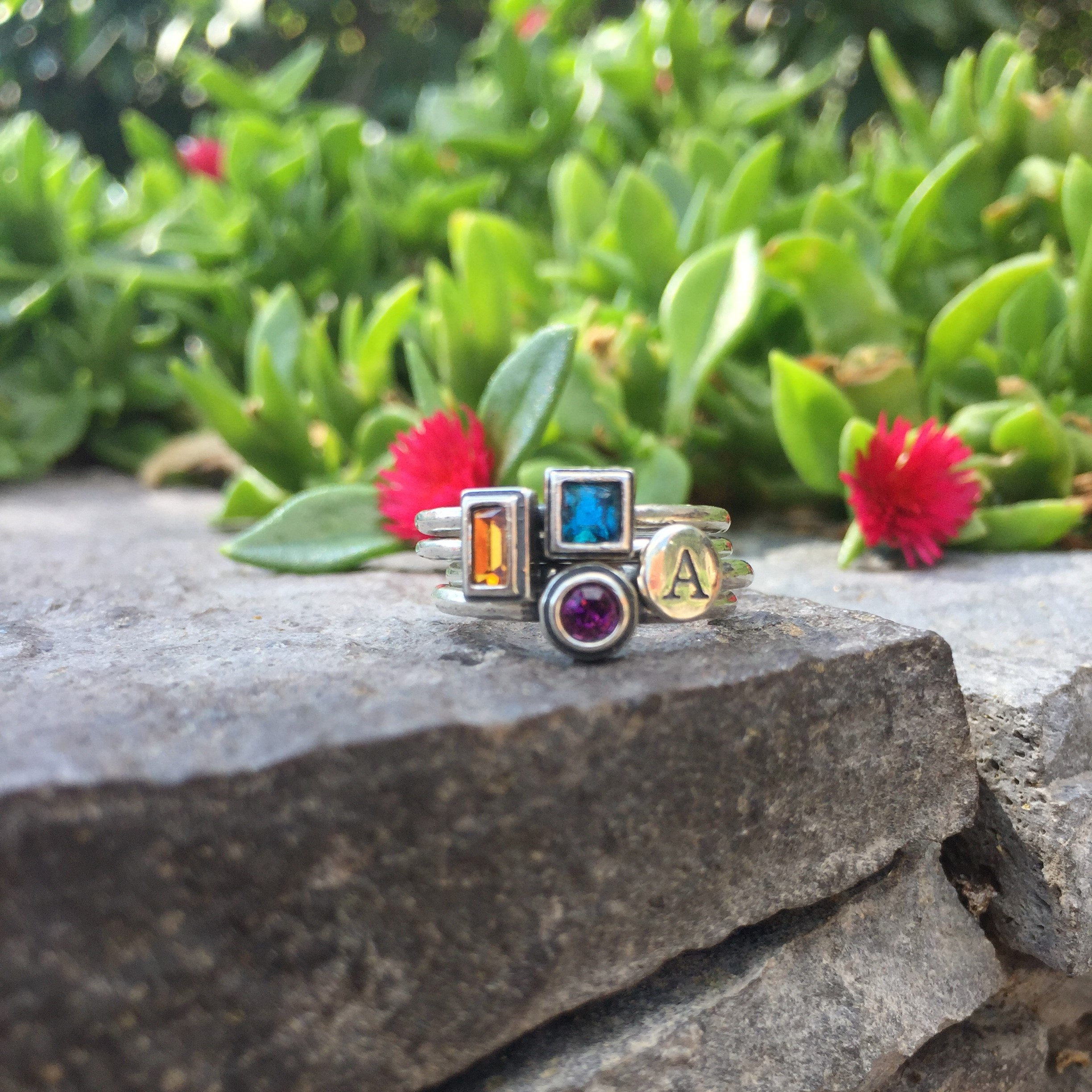 Silver Stackable Birthstone Rings