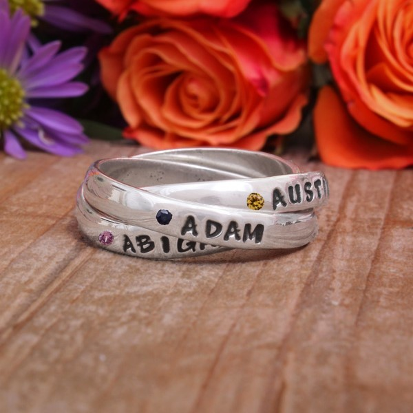 Silver Triple Name Birthstone Rings
