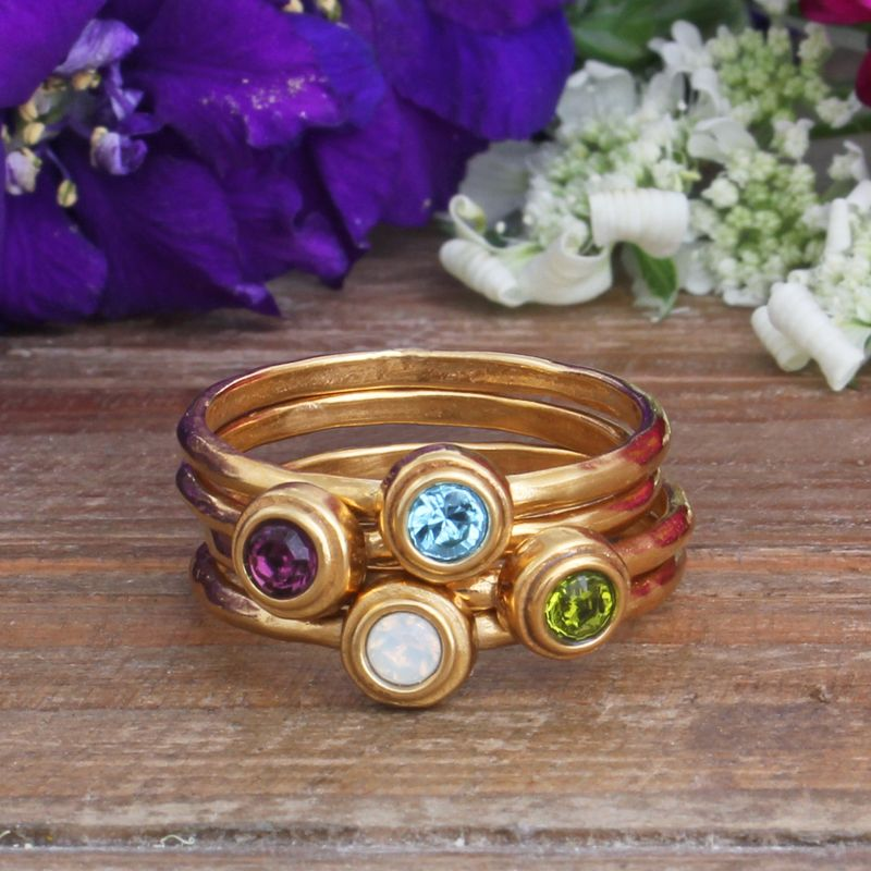 Stackable Gold Birthstone Rings