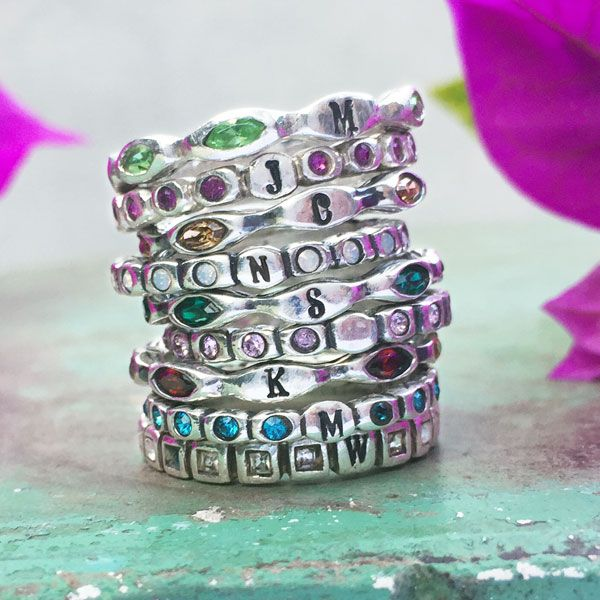 Stackable Infinity Birthstone Bands
