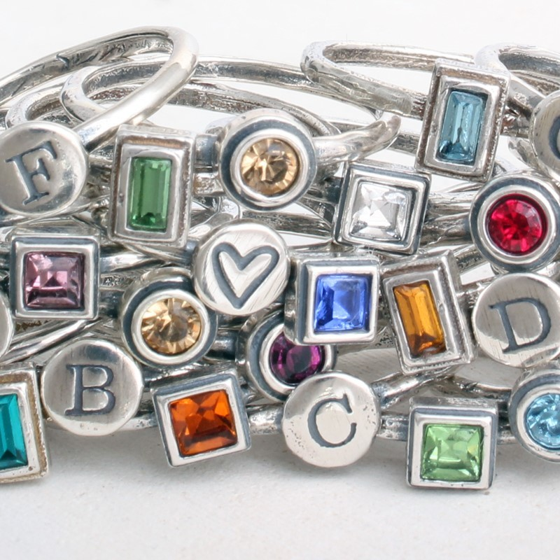 Stackable Silver Initial Birthstone Rings