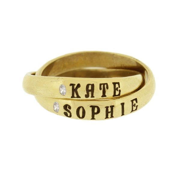 Stylish Triple Name Ring