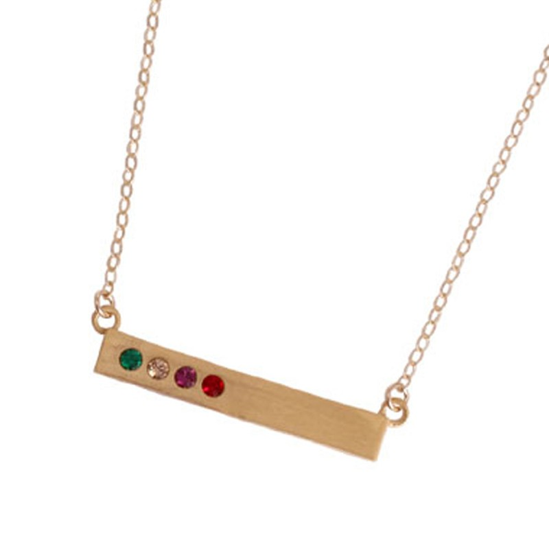 gold birthstone bar necklace for mom
