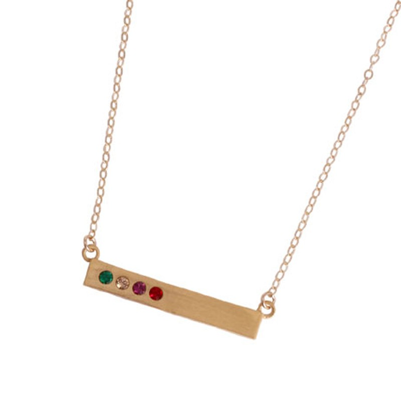 Birthstone bar necklace on model