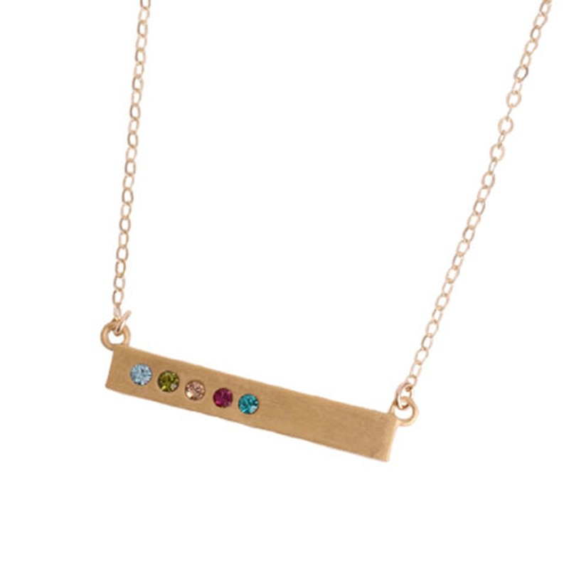 Engraved Gold Bar Necklace for Grandmother of Five