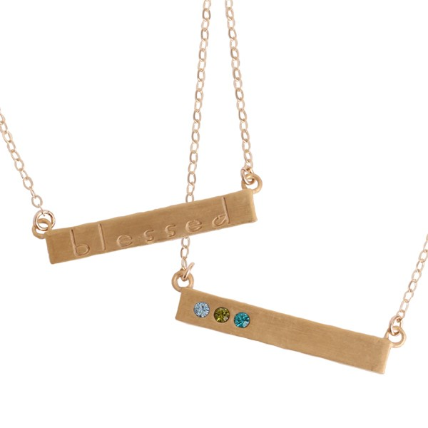 Gold Bar Necklace with Birthstones
