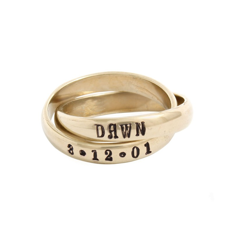 Personalized Name Ring 14k Gold Double Band Hand Stamped