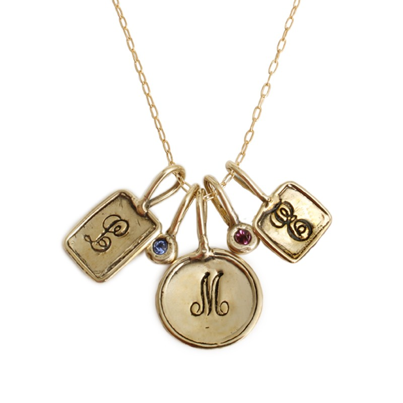 gold initial charm necklace